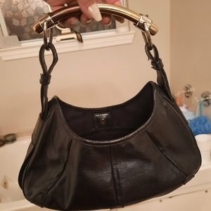 AUTH YVES ST LAURENT YSL BLACK LEATHER VTG HANDBAG